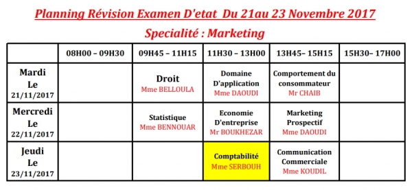 Planning révision examen d'état BTS marketing novembre 2017